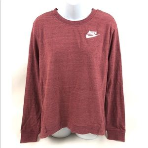 Nike Womens Activewear T-Shirt Pink Long Sleeves